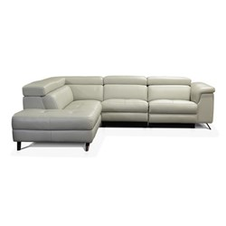 Vicenza + Light Grey Leather 4 Seater Right Corner Sofa