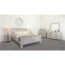 California Brushed White Queen Dresser Suite